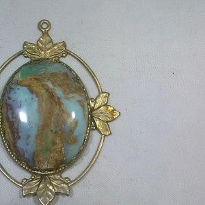 Vintage jewelry art deco stone pendant large